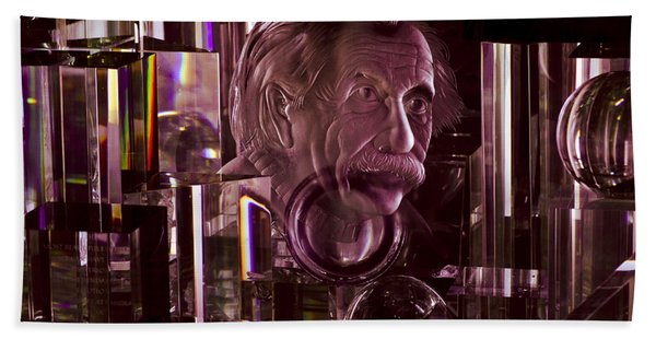 Einstein In Crystal - Purple Bath Towel