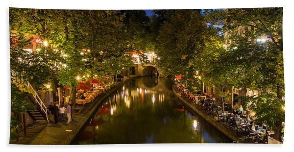 Evening Canal Dinner Bath Towel