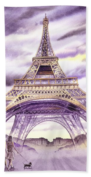 Evening In Paris A Walk To The Eiffel Tower Hand Towel
