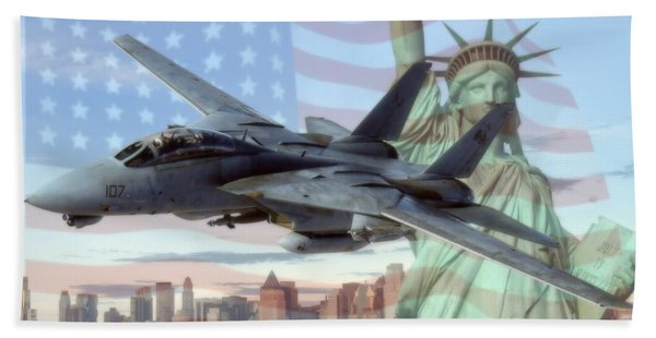 F-14 Tomcat Over Liberty Bath Towel