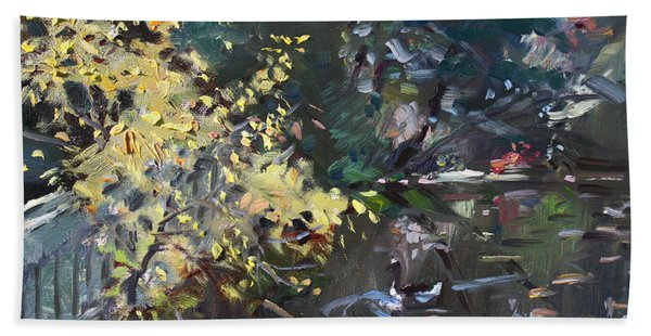 Fall By The Pond Bath Towel