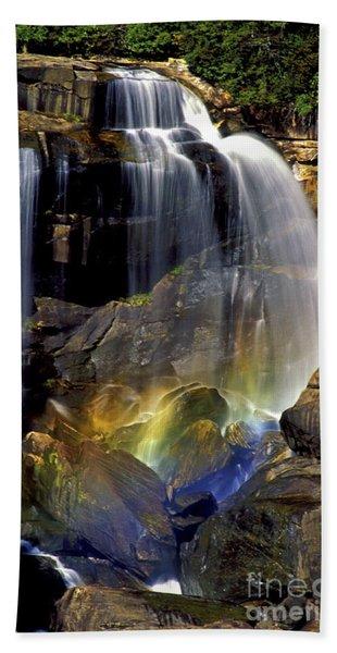 Falls And Rainbow Bath Towel