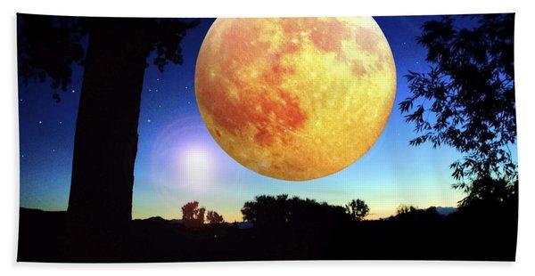 Fantasy Moon Landscape Digital Art Hand Towel