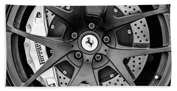 Hand Towel featuring the photograph Ferrari Wheel Emblem - Brake Emblem -0430bw by Jill Reger