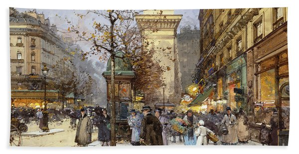 Figures On Le Boulevard St. Denis At Twilight Bath Towel