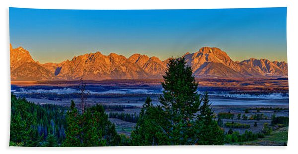 Bath Towel featuring the photograph First Light On The Tetons by Greg Norrell