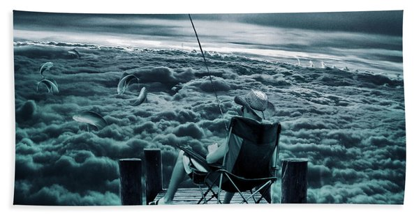 Fishing Above The Clouds Bath Towel
