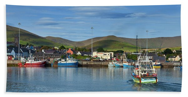 Fishing Harbour In Dingle Town, Dingle Bath Towel