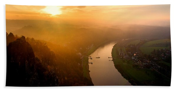Foggy Sunrise At The Elbe Hand Towel