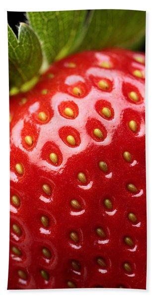 Fresh Strawberry Close-up Bath Towel