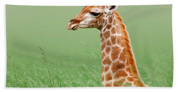 Giraffe Lying In Grass Bath Towel