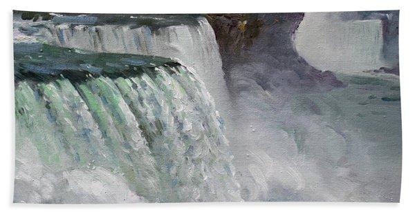 Gloomy Day At Niagara Falls Hand Towel