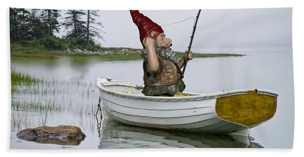 Gnome Fisherman In A White Maine Boat On A Foggy Morning Hand Towel