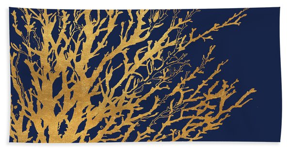 Gold Medley On Navy Hand Towel