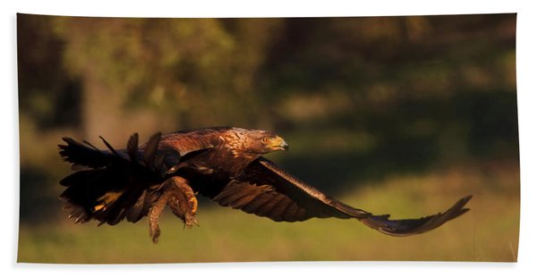 Golden Eagle On The Hunt Bath Towel