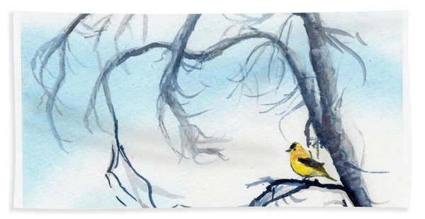 Goldfinch In Tree Hand Towel