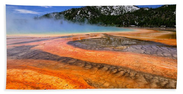 Bath Towel featuring the photograph Grand Prismatic Spring Boardwalk View by Greg Norrell