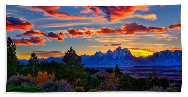 Bath Towel featuring the photograph Grand Teton Sunset by Greg Norrell