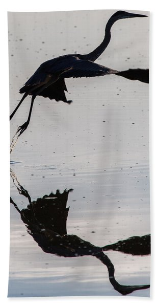 Great Blue Heron Takeoff Bath Towel