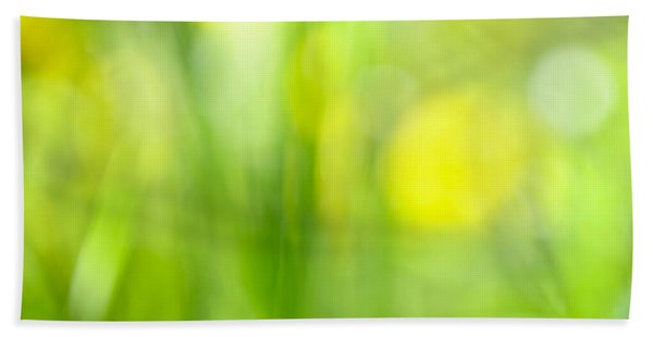 Green Grass With Yellow Flowers Abstract Bath Towel
