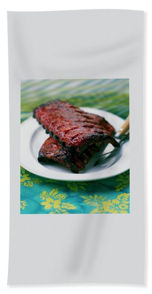 Grilled Ribs On A White Plate Bath Towel