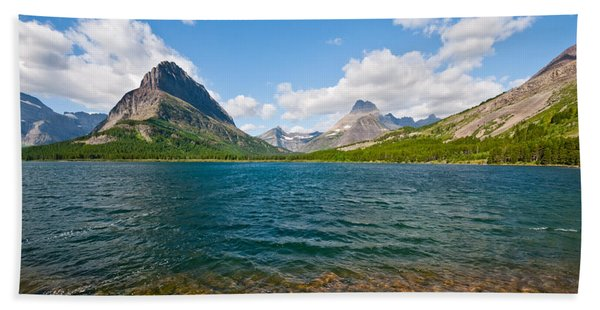 Grinnell Point From Swiftcurrent Lake Hand Towel