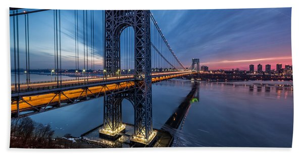 Hand Towel featuring the photograph Gwb Sunrise by Mihai Andritoiu