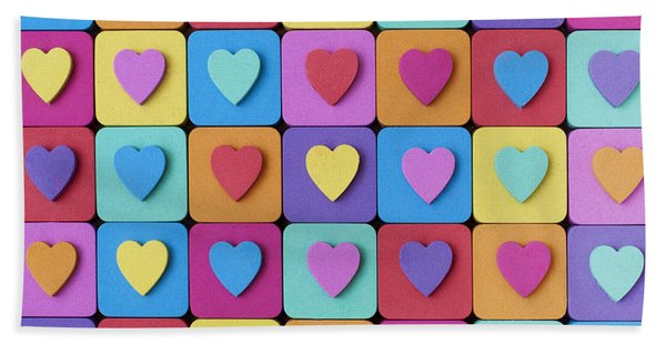 Hearts Of Colour Hand Towel