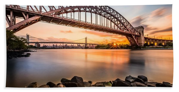 Hand Towel featuring the photograph Hell Gate And Triboro Bridge At Sunset by Mihai Andritoiu