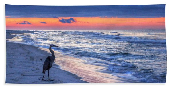 Heron On Mobile Beach Bath Towel