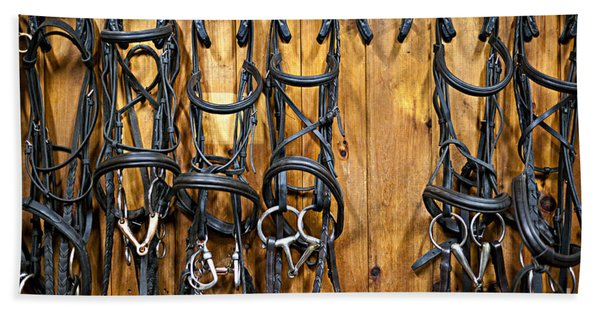 Horse Bridles Hanging In Stable Hand Towel