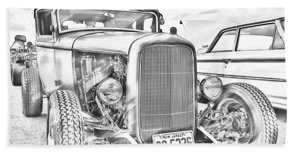 Hot Rod Faux Sketch Hand Towel