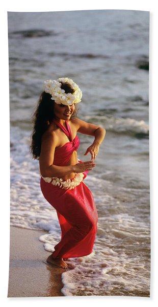 Hula Dancer Hawaii At Waters Edge Surf Hand Towel