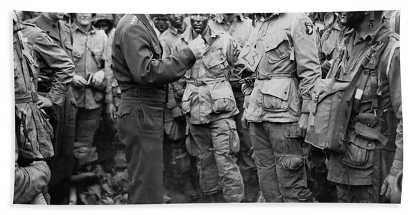 Ike With D-day Paratroopers Hand Towel