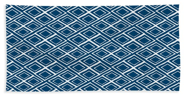 Indigo And White Small Diamonds- Pattern Hand Towel