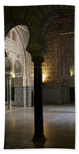 Bath Towel featuring the photograph Inside The Alcazar Of Seville by Lorraine Devon Wilke