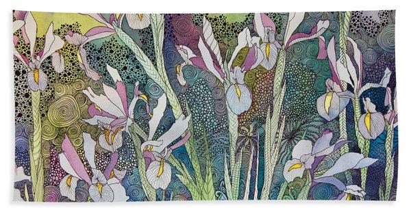 Irises And Doodles Bath Towel