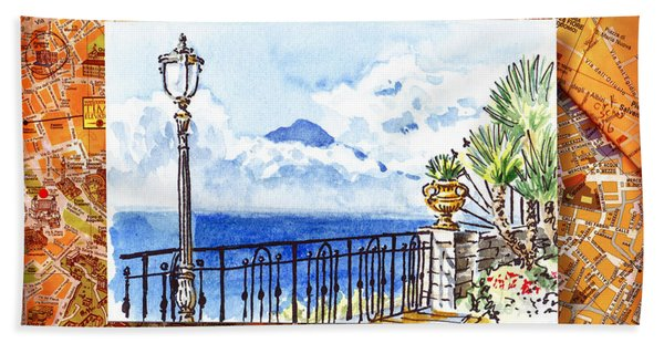 Italy Sketches Sorrento View On Volcano Vesuvius  Hand Towel