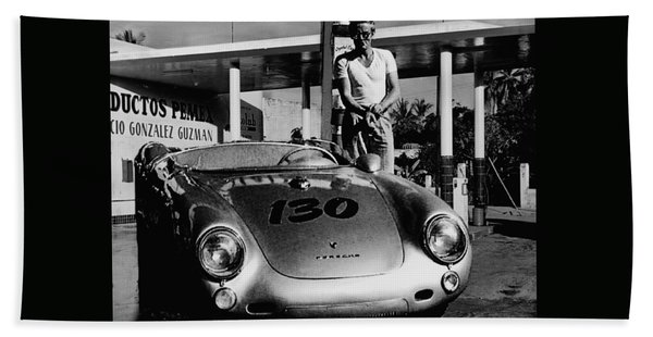 James Dean Filling His Spyder With Gas In Black And White Bath Towel