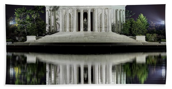 Jefferson Memorial - Night Reflection Bath Towel