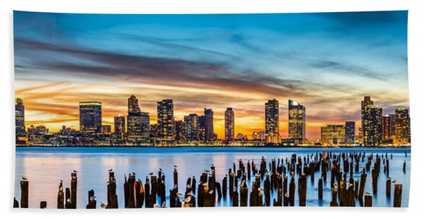 Hand Towel featuring the photograph Jersey City Panorama At Sunset by Mihai Andritoiu