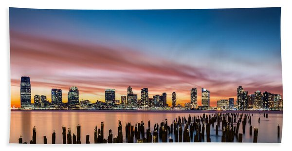 Hand Towel featuring the photograph Jersey City Skyline At Sunset by Mihai Andritoiu