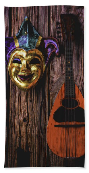 Jester Mask And Mandolin Hand Towel