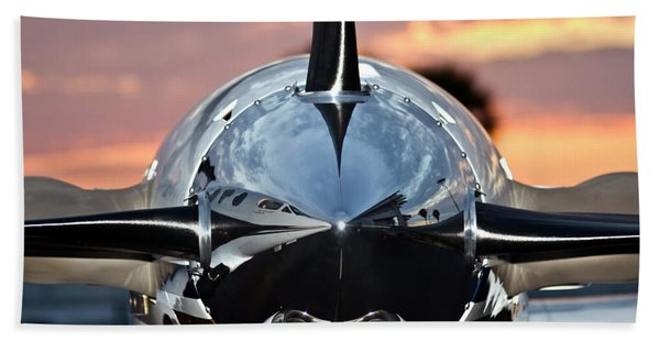 Bath Towel featuring the photograph Airplane At Sunset by Carolyn Marshall