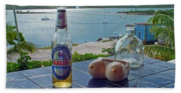 Kalik Beer Bottle At The Front Porch Hand Towel