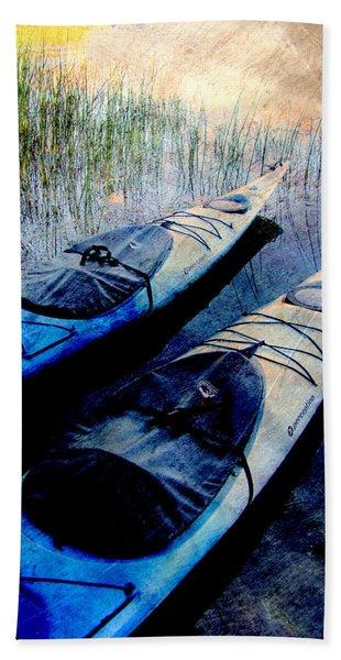 Kayaks Resting W Metal Hand Towel