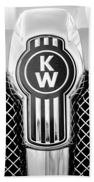 Hand Towel featuring the photograph Kenworth Truck Emblem -1196bw by Jill Reger