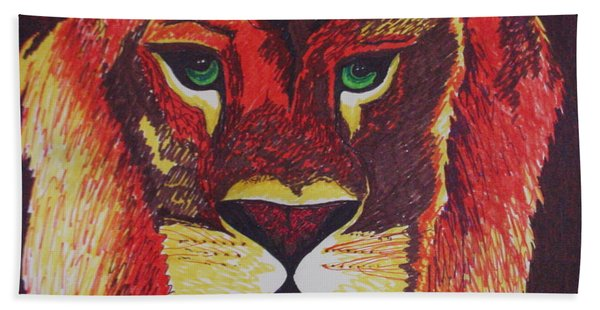 Lion In Orange Hand Towel