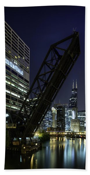Kinzie Street Railroad Bridge At Night Hand Towel