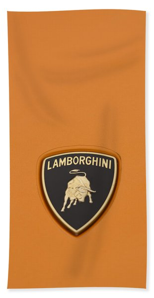 Lambo Hood Ornament Orange Bath Towel